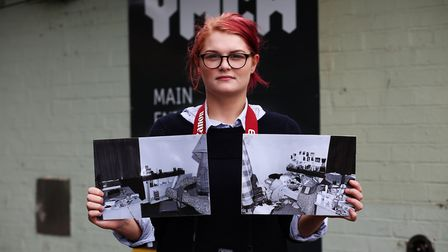 Hannah Dodds with some of her work which looks at life in her YMCA. Picture: Danny Loo