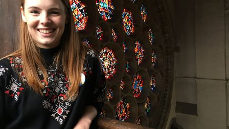 Reporter Franki in St Albans Cathedral.