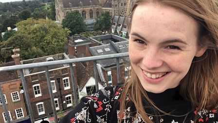 Reporter Franki at the top of St Albans Clock Tower.