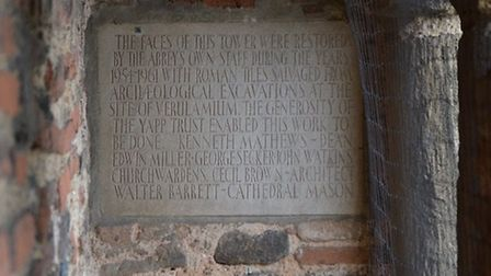 An engraving in St Albans Cathedral. Picture: Dave Allen.