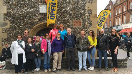 The Group outside St Albans Clock Tower.