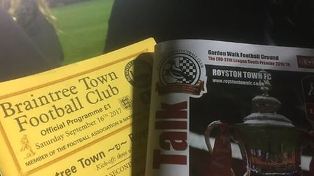 Programmes from both matches between Royston Town and Braintree Town in the FA Cup. Picture: @laythy