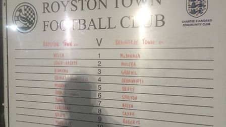 Team line-ups at Royston Town. Credit @laythy29