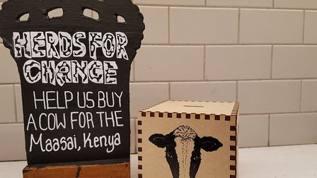 The Herds for Change money box, which will remain on the bar until Sunday, September 3.