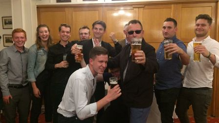 The lads at Royston CC enjoy a well-deserved beer after their sterling efforts this season. Credit R