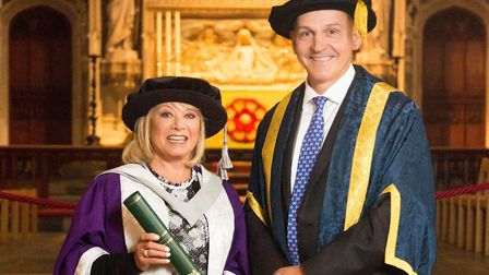 Elaine Paige recieved an honourary degree from the University of Hertfordshire. Pictured with vice-c