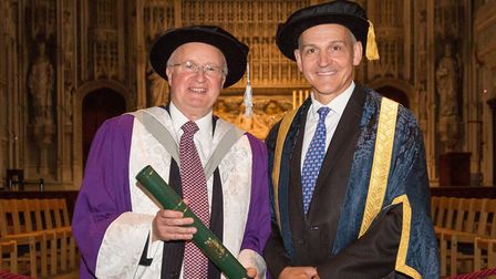 Honourary degree holder Philip Waters with vice-chancellor Prof Quintin McKellar at the University o