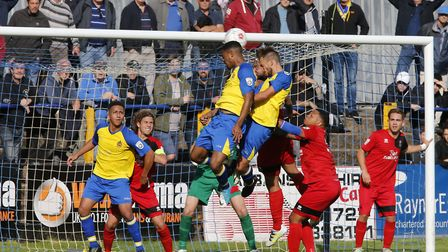 Kieran Monlouis is unable to direct his header towards the goal. Picture: LEIGH PAGE