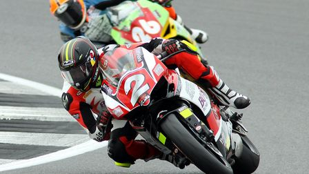 Jon Railton during the penultimate round of the Ducati Performance TriOptions Cup at Silverstone. Pi