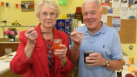 Mavis Campian and Peter Lane with their preserves.
