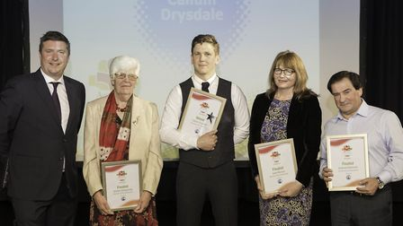 David Croft with the winner and finalists of the Service to the Community Award.