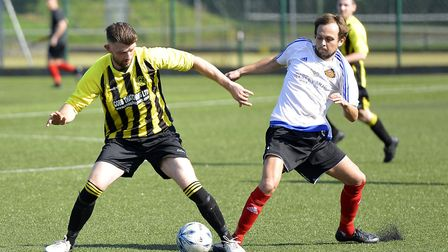 Action from the Cambs League clash between AFC Barley Mow and Houghton & Wyton. Picture: DUNCAN LAMO
