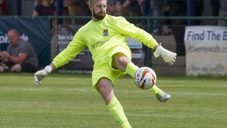 St Neots Town number one Mike Emery is injured. Picture: CLAIRE HOWES