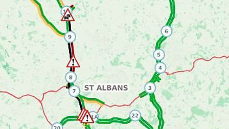 Northbound and southbound carriages are closed on the M1. Picture: Traffic England.