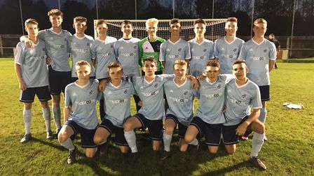Godmanchester Rovers Under 18s ahead of their FA Youth Cup tie. They are back row, left to right, Ro