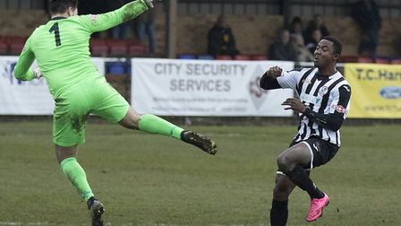 Dubi Ogbonna scored and was sent off in St Ives Town's defeat at Farnborough. Picture: LOUISE THOMPS