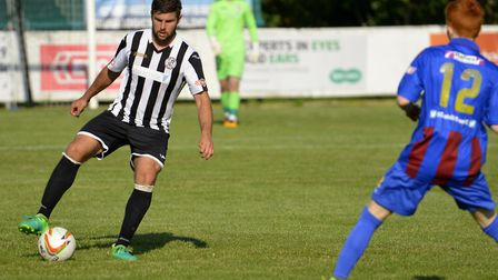 Lewis Ferrell was one of two St Ives Town defenders injured during their FA Cup exit.