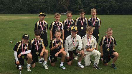 The double-winning Eaton Socon Under 13 side are back row, left to right, Jacob Watling, Noah Smith,