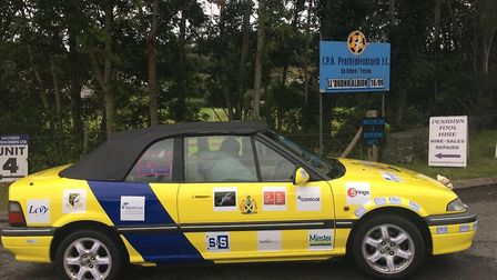 Banger to Bangor rally 2017: St Albans City FC and Rayner Essex car.