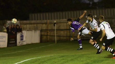 Zane Banton's flying header put St Albans City 1-0 up against Cambridge City in the FA Cup replay. P