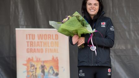 Lauren Steadman on the podium in Rotterdam. Picture: DAVE PEARCE