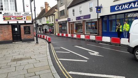 Herts County Council has carried out a trial widening of footways in Kneesworth Street. Picture: Car