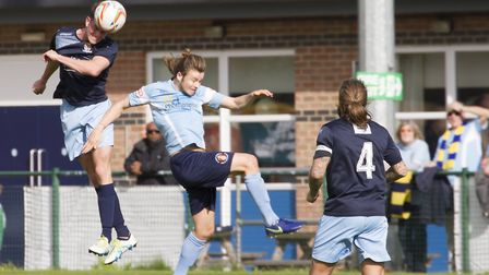 Taylor Parr gets his head on the ball as St Neots Town beat Slough. Picture: CLAIRE HOWES