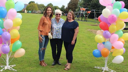 Shepreth Parish Council chairman Ruth White flanked by Dee McCabe (left) and Katherine Maison from t