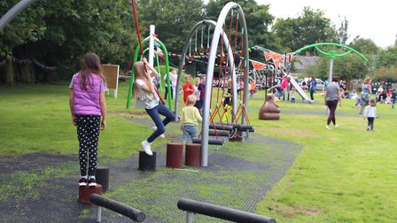 Children playing on the new equipment in Shepreth. Picture: Peter White