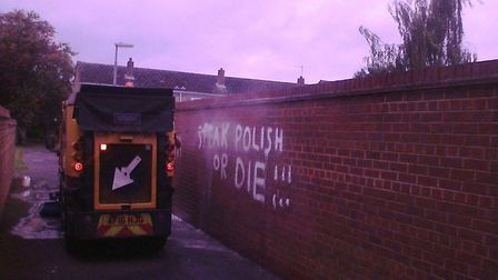 Huntingdonshire District Council was called in to remove the graffiti. Picture: PATRICK KADEWERE.
