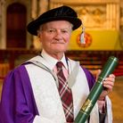 Jim Rodford with his honorary degree. Picture: Pete Stevens.