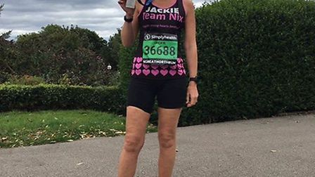 Jackie Hart, 51, from Royston after completing the Great North Run at the weekend. Picture: Nicola E