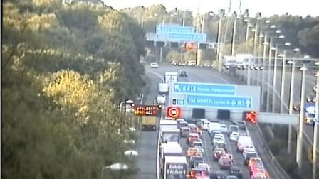 Highways England is warning of a crash on the M1 in Hertfordshire. Picture: Highways England @Highw