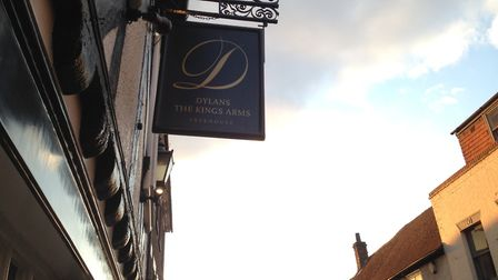 The sign outside Dylans The Kings Arms. The restaurant is shortlisted for five awards at the St Alba