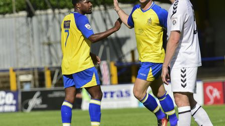 Shaun Lucien and Charlie Walker combined for St Albans City's opening goal against Havant & Waterloo