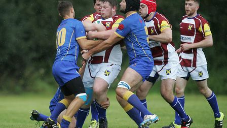 No way through the Vees defence for William Batchelor of St Albans. Picture: KARYN HADDON