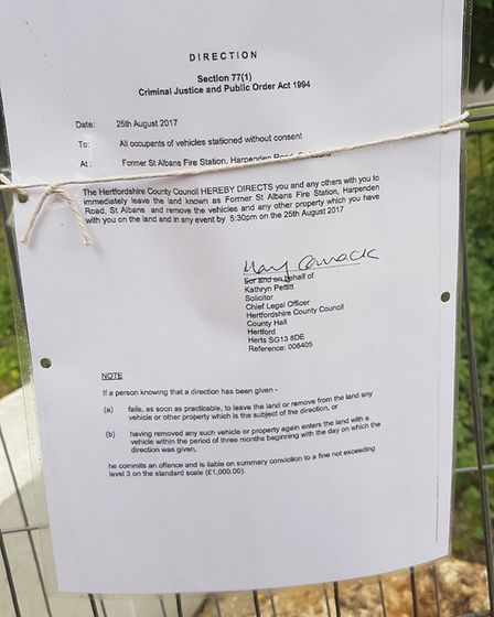A court order on the left-hand gate to the rear of the Heathlands Drive fire station site.