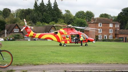 The air ambulance which landed on Harpenden Common. Photo: HARPENDEN TOWN COUNCIL