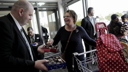 Customers arrived at the new Marks and Spencer in Huntingdon.