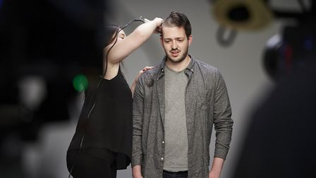 Ted and Hannah Woodward during the shave. Photo: RANKIN