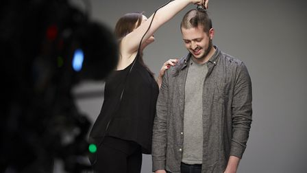 Ted and Hannah Woodward about halfway through the shave. Photo: RANKIN