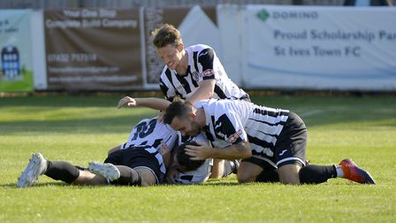 St Ives Town players celebrate going ahead in their FA Cup tie against Coalville Town. Picture: DUNC