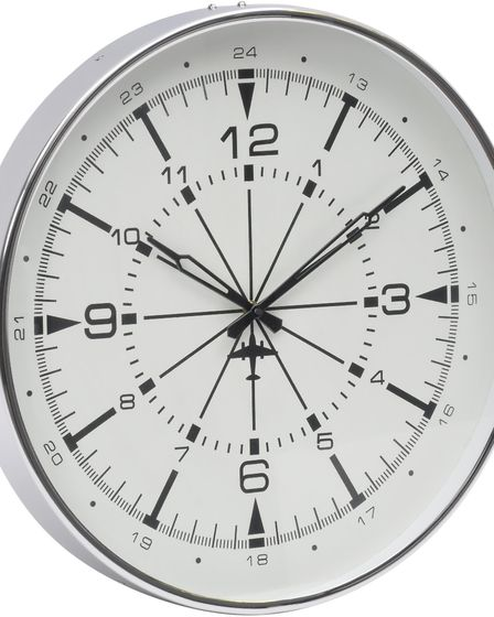 Aeronaut wall clock with compass-style markers, bold black numbers and subtle detail of an aircraft