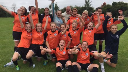St Ives Town Ladies celebrate their Women's FA Cup victory with chairman Gary Clarke.
