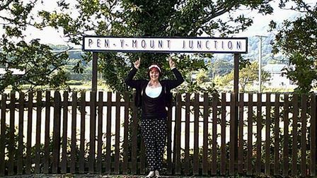 Train enthusiast Penny Mount at Pen-Y-Mount Junction.