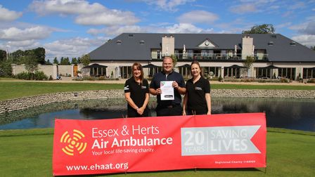 Cheque presentation to Essex & Herts Air Ambulance. Photo: CENTURION GOLF CLUB