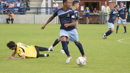 Action from St Neots Town's trip to Kettering. Picture: CLAIRE HOWES