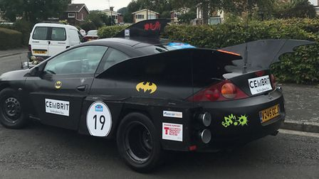 The Batmobile the couple will drive through 10 countries to reach Monte Carlo.