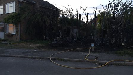 The scene of the fire in Somersham.