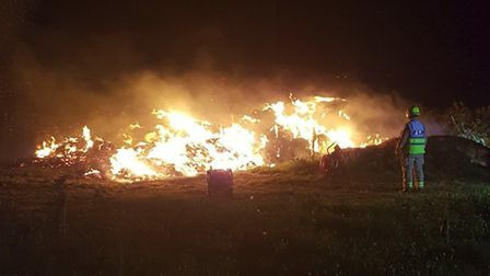 The haystack fire on Roundwood Lane, Harpenden. Photo: HERTS FIRE CONTROL